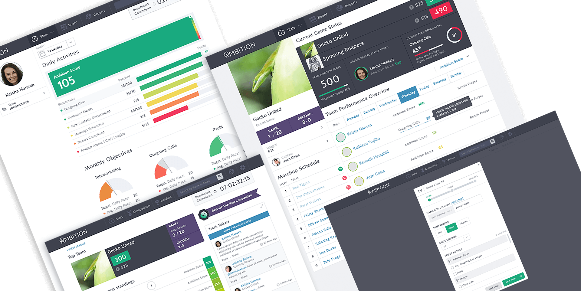 Ambition product UI