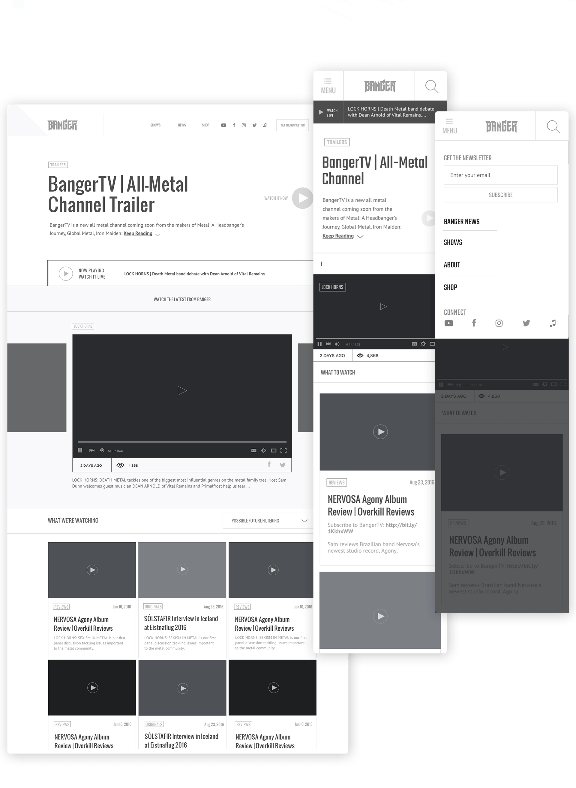 Banger TV wireframes
